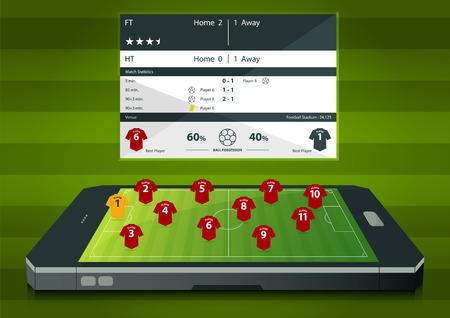 statics: Football or soccer match statics infographic. Football formation tactic. Football online concept. Flat design. Vector Illustration.