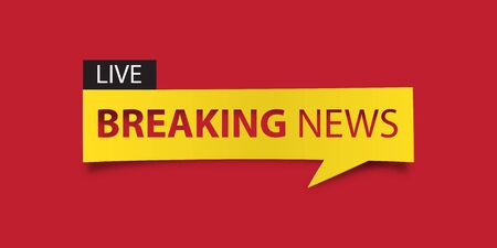 defuse: Breaking news banner isolated on red background. Banner design template. Vector illustration Illustration