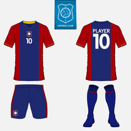 uniforme de futbol: Conjunto de juego de fútbol o plantilla de camiseta de fútbol para el club de fútbol. logotipo del fútbol plana en la etiqueta azul. Parte delantera y trasera vista uniforme de fútbol. ropa de fútbol maqueta. Vectores