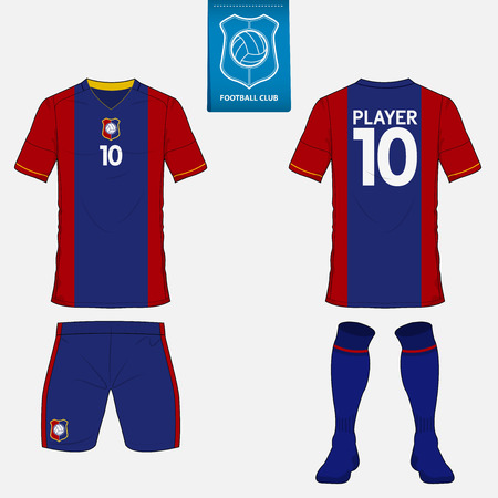 Set of soccer kit or football jersey template for football club. Flat football logo on blue label. Front and back view soccer uniform. Football apparel mock up. Illustration