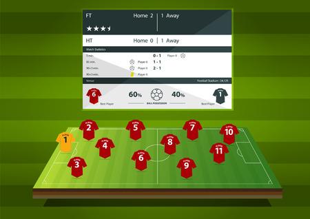 El fútbol o el partido de fútbol infografía estática. Fútbol táctica de la formación en diseño plano.