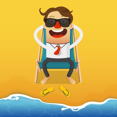 relaxar: Businessman relaxing on a blue beach armchair. Wooden chair. Summer holiday and seascape background. Business cartoon character. Ilustração