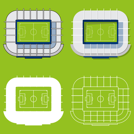 venue: Set of football stadiums or soccer arena. Sport venue in flat design. Football stadium top view. Illustration