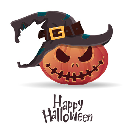 cartoon halloween: Halloween pumpkin carving in black witch hat. Happy Halloween typography. Cartoon vector. Illustration