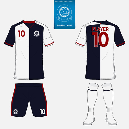 soccer uniform: Set of soccer kit or football jersey template for football club. Flat football logo on blue label. Front and back view soccer uniform. Football apparel mock up. Illustration