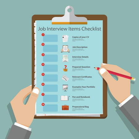 Essential job interview icons in flat design on clipboard. Job interview preparation infographic. Vettoriali