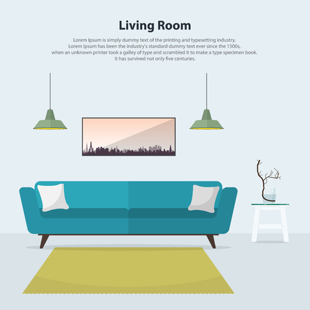 interior design home: Home interior design. Modern living room interior with blue sofa, table, lamps and carpet in flat design. Minimal style vector illustration. Illustration
