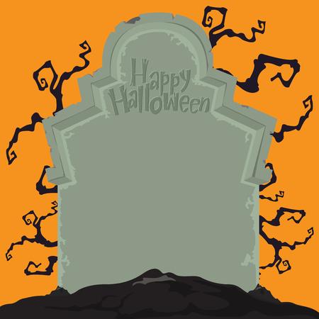 lapide Creepy per la decorazione di festa di Halloween. Halloween luna piena di sfondo.