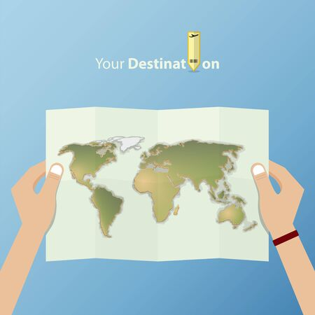 folded hand: White folded world map holding by the tourist hand. World map in flat design. Illustration
