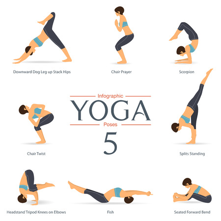 Set of yoga poses in flat design . Yoga infographics. Иллюстрация