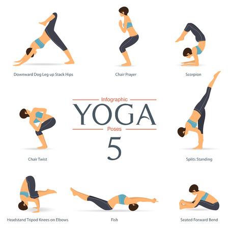Set of yoga poses in flat design . Yoga infographics. Illustration