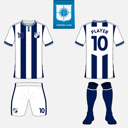 Set of soccer kit or football jersey template for football club. Flat logo on blue label. Front and back view. Football uniform. Vector Illustration