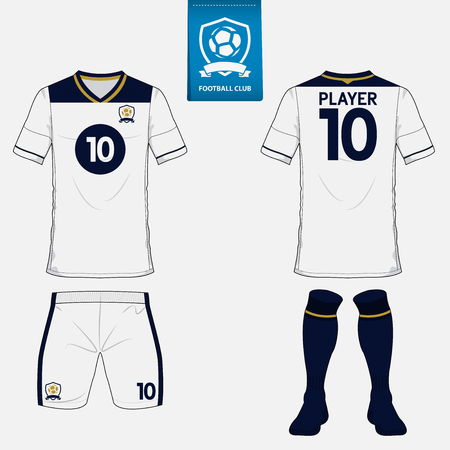 Set of soccer kit or football jersey template for football club. Flat logo on blue label. Front and back view. Football uniform.
