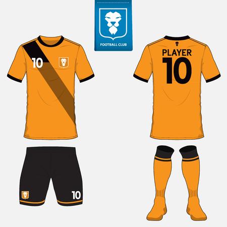 サッカー クラブのサッカー キットまたはフットボール ジャージー テンプレートのセットです。青いラベルのロゴ。前面と背面ビュー。サッカーのユニフォーム。 ベクターイラストレーション