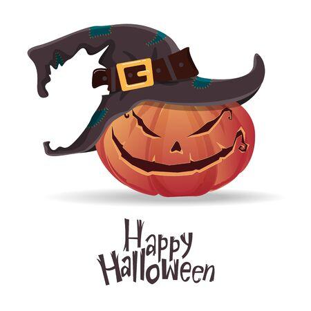 Halloween pumpkin carving in black witch hat. Happy Halloween typography. Cartoon vector. Vector Illustration. Illustration