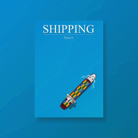 cargo transport: Logistic transport business corporate Identity Templates for flyers brochure. Annual report cover abstract style on container background in a4 size. Cargo logistic industry. Vector Illustration.