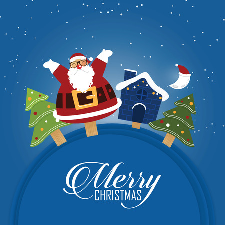house of santa clause: Merry Christmas scene with happy Santa Claus. Cartoon character in flat design. Vector Illustration Illustration