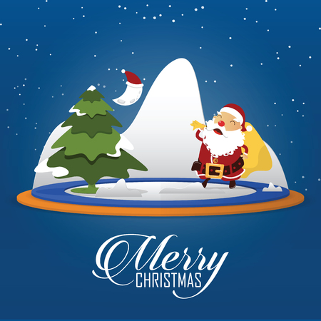 house of santa clause: Merry Christmas scene with Santa Claus carrying sack full of gifts. Cartoon character in flat design. Vector Illustration