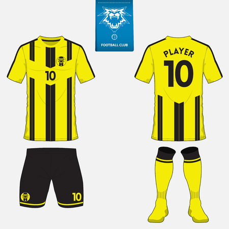 Set of soccer kit or football jersey template for football club. Flat football logo on blue label. Front and back view. Football uniform. Vector Illustration