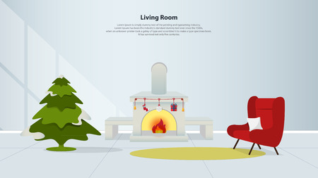 interior design home: Home interior design with furniture. Living room with fireplace, red armchair and Christmas tree in flat design. Minimal style. Vector illustration.
