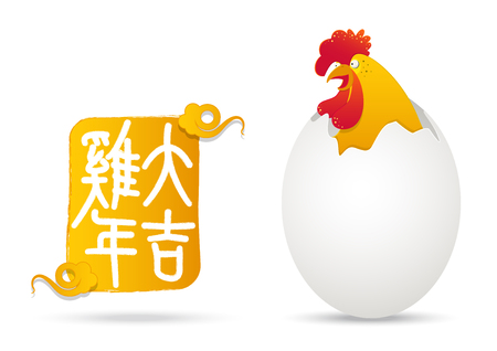 broken eggs: 2017 Happy Chinese New Year. Year of the rooster. Colorful  rooster with broken chicken egg shell. cartoon character. Chinese word mean Rooster year with success. Vector Illustration.