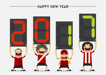 substitution: Football or soccer player showing  substitution board with Happy New Year 2017 massage. Vector Illustration