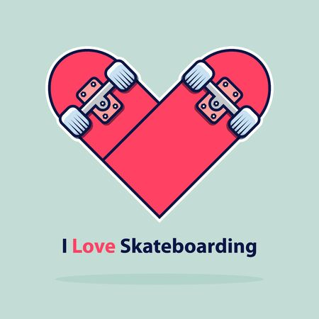 Heart icon in flat design. Love symbol. Valentine's Day sign. Skateboarding logo isolated on blue background with shadow. Vector Illustration. Ilustração