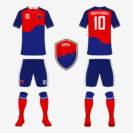 Set of soccer jersey or football kit template for South Korea national football team. Front and back view soccer uniform. Sport shirt mock up. Vector Illustration