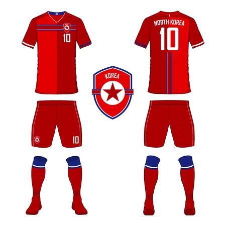 soccer uniform: Set of soccer jersey or football kit template for North Korea national football team. Front and back view soccer uniform. Sport shirt mock up. Vector Illustration