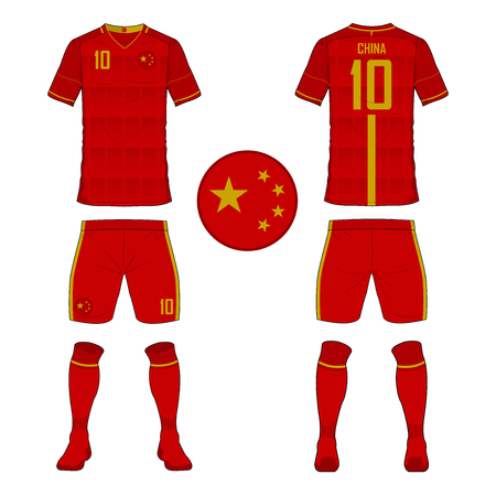 Set of soccer jersey or football kit template for China national football team. Front and back view soccer uniform. Sport shirt mock up. Vector Illustration  イラスト・ベクター素材