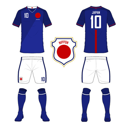 soccer uniform: Set of soccer jersey or football kit template for Japan national football team. Front and back view soccer uniform. Sport shirt mock up. Vector Illustration