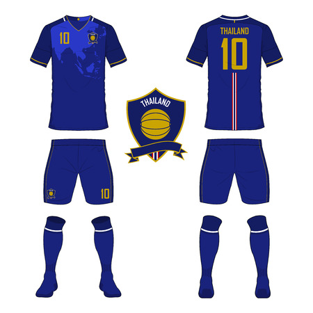 Set of soccer jersey or football kit template for Thailand national football team. Front and back view soccer uniform. Sport shirt mock up. Vector Illustration