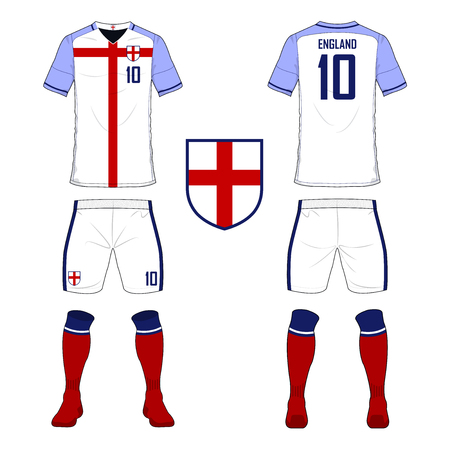 football jersey: Set of soccer jersey or football kit template for England national football team. Front and back view soccer uniform. Sport shirt mock up. Vector Illustration