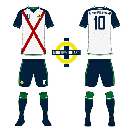 Set of soccer jersey or football kit template for Northern Ireland national football team. Front and back view soccer uniform. Sport shirt mock up. Vector Illustration