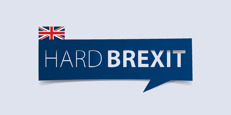 defuse: Hard Brexit banner isolated on light blue background. Banner design template. Vector illustration.