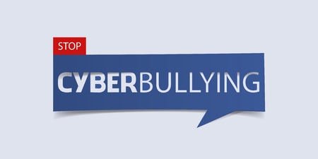 hoax: Cyberbullying banner isolated on light blue background. Banner design template. Vector illustration.