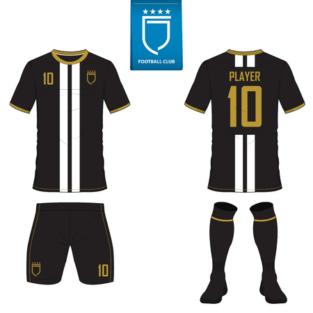 Set of soccer kit or football jersey template for football club. Flat football logo on blue label. Front and back view soccer uniform. Football shirt mock up. Vector Illustration. Illustration