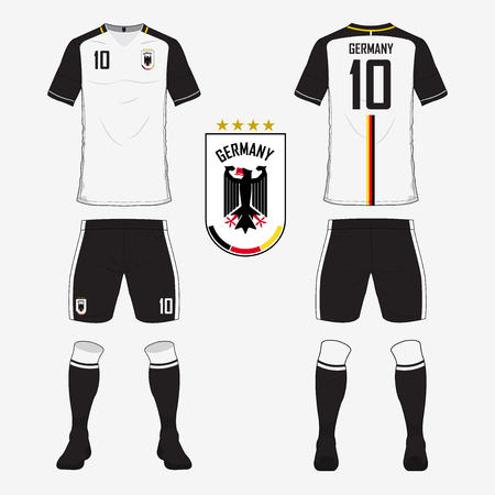 Set of soccer jersey or football kit template for Germany national football team. Front and back view soccer uniform. Sport shirt mock up. Vector Illustration
