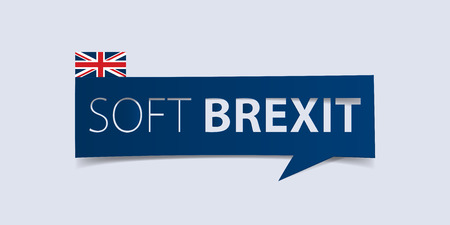defuse: Soft Brexit banner isolated on light blue background. Banner design template. Vector illustration.