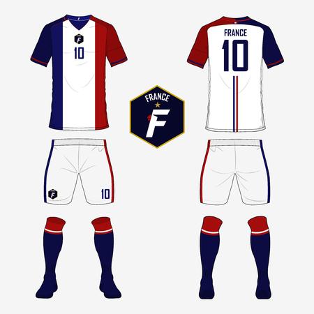 soccer uniform: Set of soccer jersey or football kit template for France national football team. Front and back view soccer uniform. Sport shirt mock up. Vector Illustration