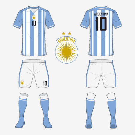 soccer uniform: Set of soccer jersey or football kit template for Argentina national football team. Front and back view soccer uniform. Sport shirt mock up. Vector Illustration