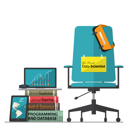 Job vacancy advertisement for Data Scientist with office workplace chair in flat design. Vector Illustration.