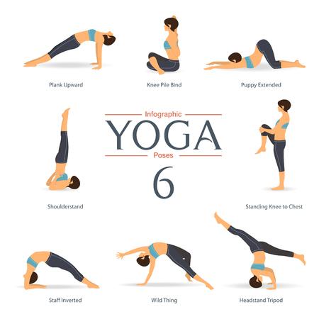 pose: Set of yoga poses in flat design .