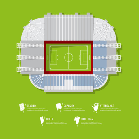 Top view of football stadium or soccer arena.  Sport venue in flat design. Infographic and sport icon set.  Vector Illustration.