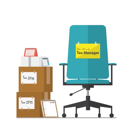 tax office: Job vacancy advertisement for Tax Manager with office workplace chair in flat design. Vector Illustration. Illustration