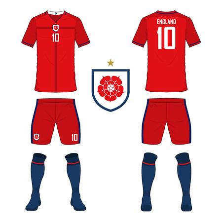 Set of soccer jersey or football kit template for England national football team. Front and back view soccer uniform. Sport shirt mock up. Vector Illustration Ilustração Vetorial