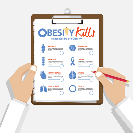 Infographic for 8 Diseases due to obesity in flat design. Doctor's hand holding clipboard. Medical and healthcare report. Vector Illustration. Иллюстрация
