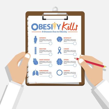 Infographic pour 8 maladies dues à l'obésité dans la conception à plat. main holding presse-papiers du docteur. Rapport médical et de la santé. Vector Illustration. Vecteurs