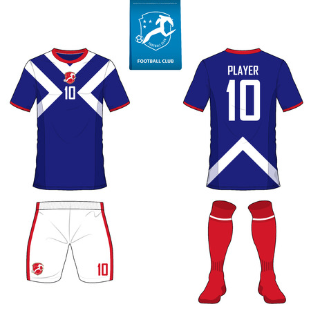 jersey: Set of soccer kit or football jersey template for football club. Flat football logo on blue label. Front and back view soccer uniform. Football shirt mock up. Vector Illustration. Illustration