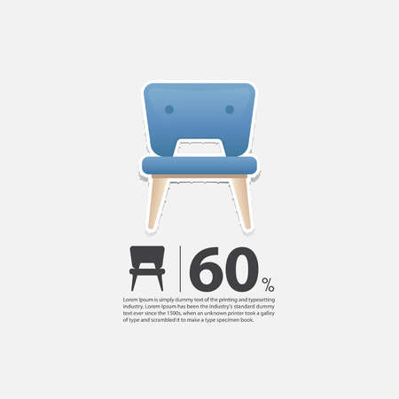 wood chair: Chair in flat design for living room interior. Minimal icon for furniture sale poster. Blue chair on white background in paper art style. Vector Illustration.